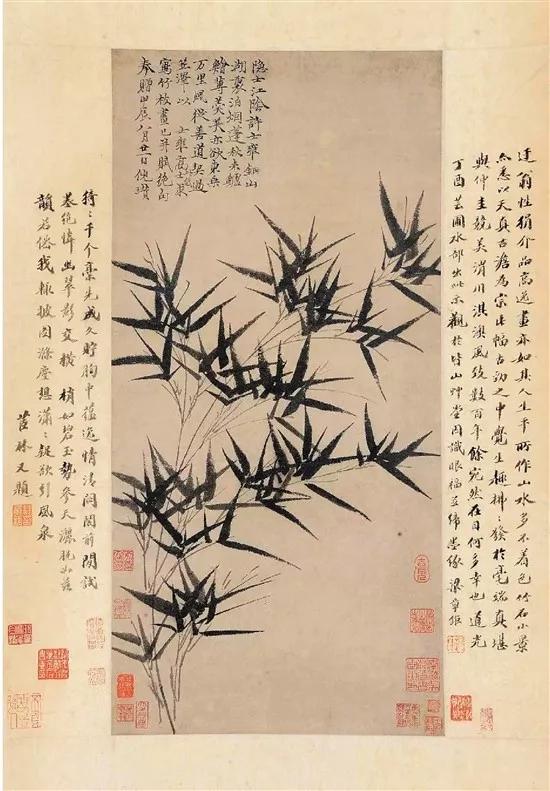 元 倪瓒 墨竹图 罗纹纸本 立轴 66.5×32cm 1364年作