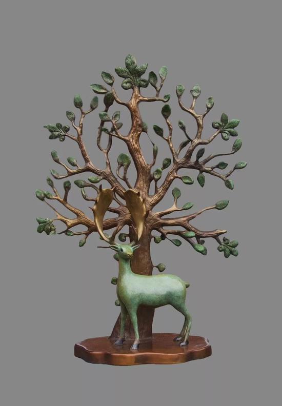 《菩提树》71x53x30cm 青铜着色 2018