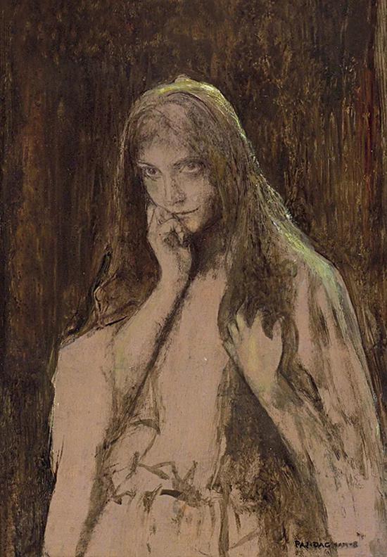 帕斯卡。达仰-布弗莱 奥菲利娅 木板油彩 25.5x18cm 1900年