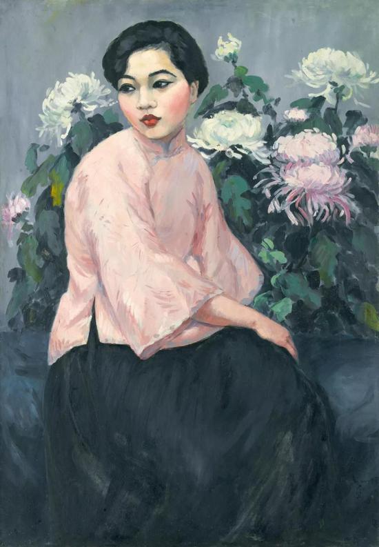 方君璧 桃衣少女 布面油彩 114x79cm 1926年