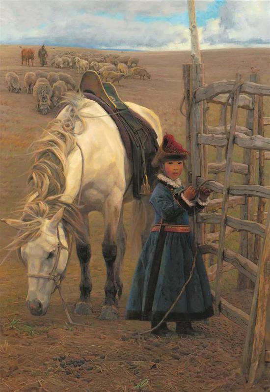 格格的小白马 布面油画 162X112cm2010年