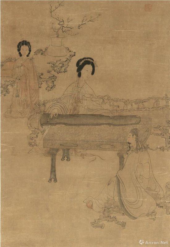 (明)陈洪绶 听琴图(局部) 纸本设色纵112.5厘米 横49.5厘米 北京故宫博物院藏