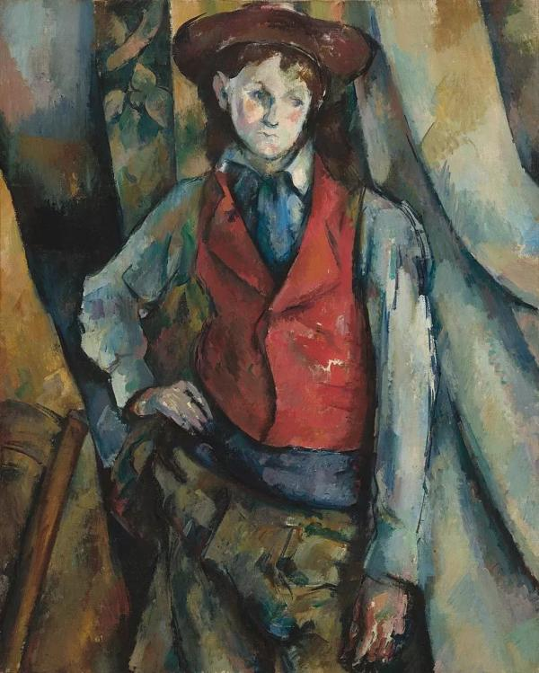 (法)保罗·塞尚,《穿红背心的男孩》,布面油画,1888—1890年,美国国家美术馆藏