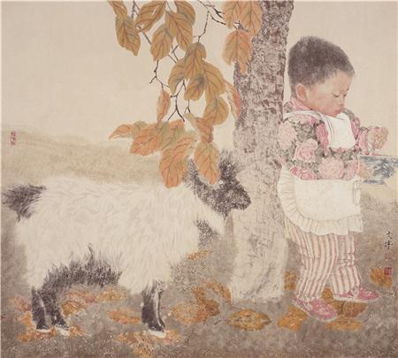 《童年》之一 90×80cm 纸本设色 2002年