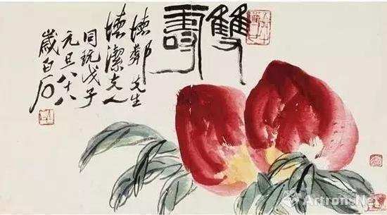齐白石赠送给李宗仁夫妇的作品 《双寿》
