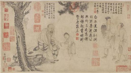 北宋 李公麟(传) 醉僧图卷 纸本设色 32.5 × 60.8 cm 美国弗利尔博物馆藏