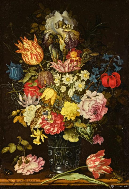 威廉・凡・迪姆收藏 巴尔萨泽・凡・德・阿斯特 (Balthasar van der Ast)《静物:石架上玻璃酒杯内的花卉、昆虫与蜥蜴》油彩铜版画 37.4x26cm 成交价:73万英镑