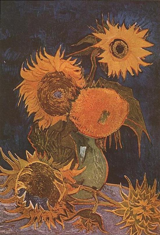 梵高,《花瓶里的五朵向日葵》,1888年8月,毁于第二次世界大战