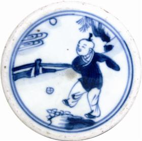青花瓷上的蹴踘图