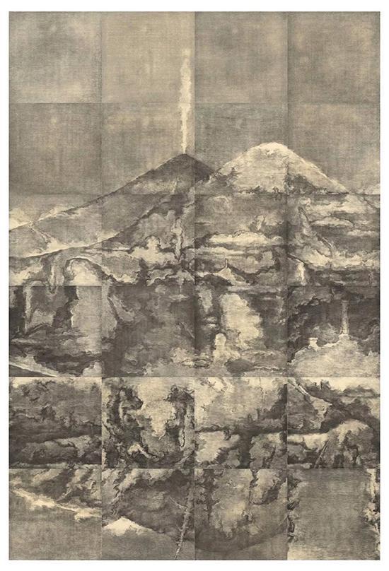 苏新平,荒原三号,300×200cm,纸本铜版,2017