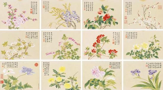 钱维城 花卉册 册页(十二开) 设色纸本 27.5×37 cm(每幅) 成交价:RMB 66,700,000