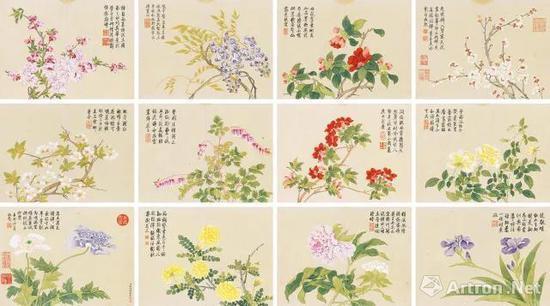 钱维城 花卉册 册页 (十二开) 6670万元 中国嘉德
