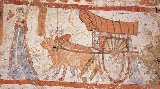 莫高窟第62窟 侍女牛车牛车、鹿车、羊车同时出发。