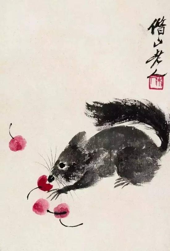 鼠樱图 镜心 设色纸本