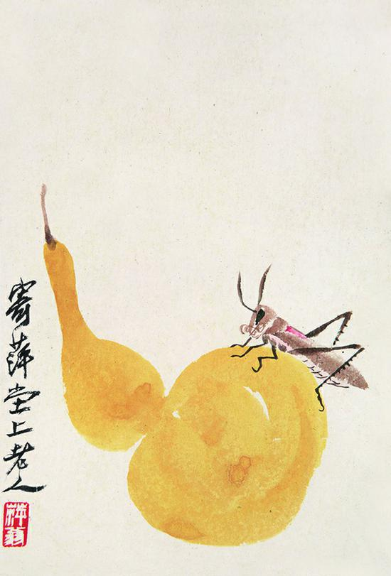 齐白石《葫芦秋虫》题识:寄萍堂上老人。钤印:萍翁