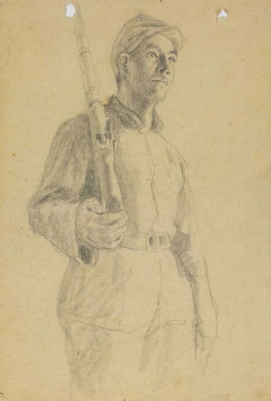 石鲁 扛枪的男民兵 20世纪40年代