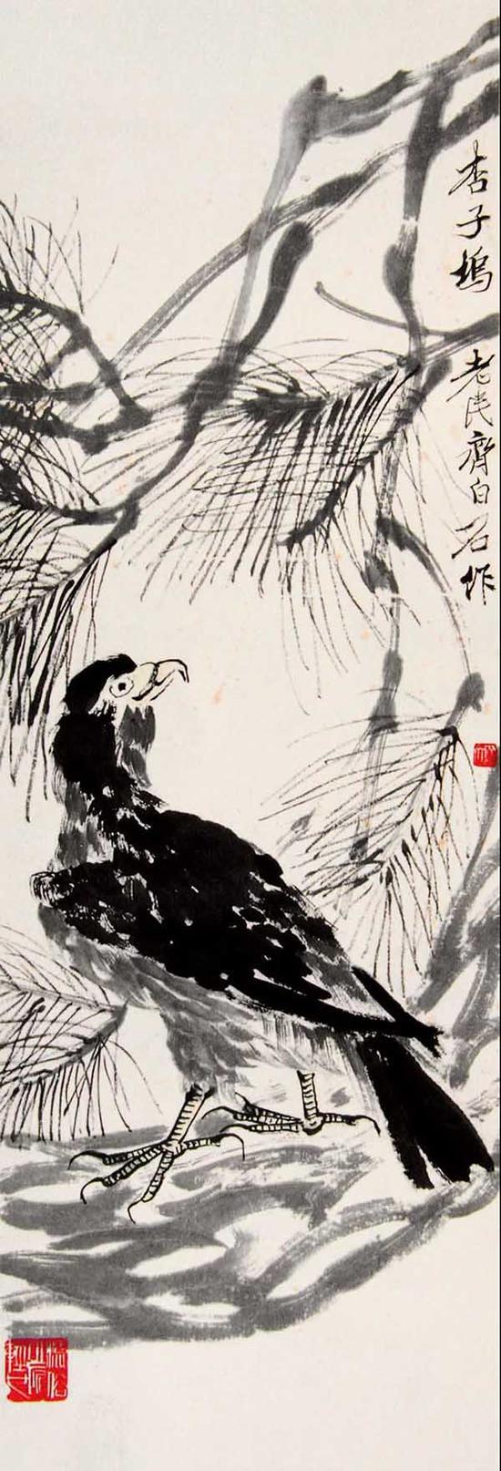 齐白石 松鹰图 101cm×34cm 约20 世纪40年代初期