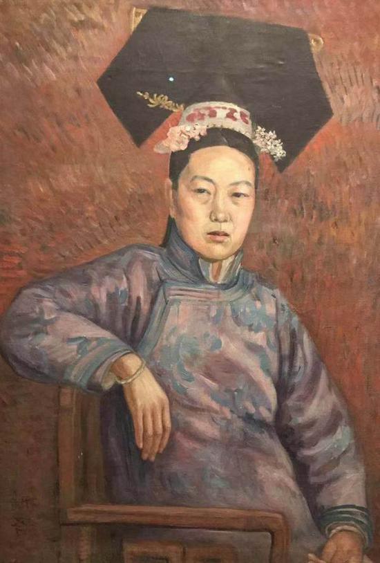 吴法鼎,《旗装妇女像》,中央美术学院美术馆