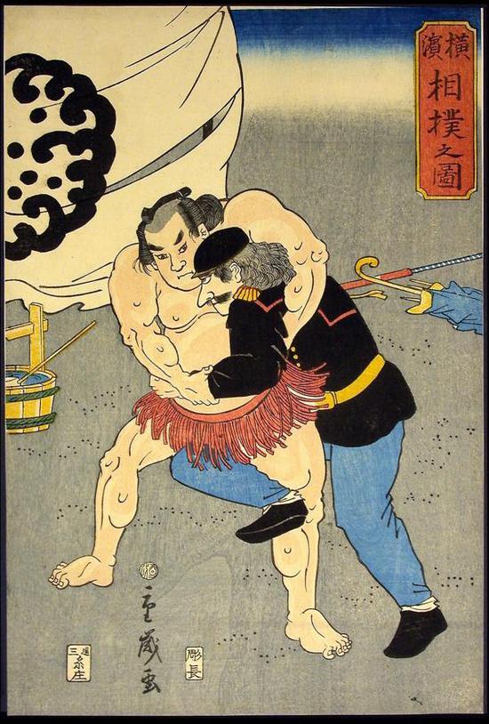 《横滨的相扑比赛图》,1861