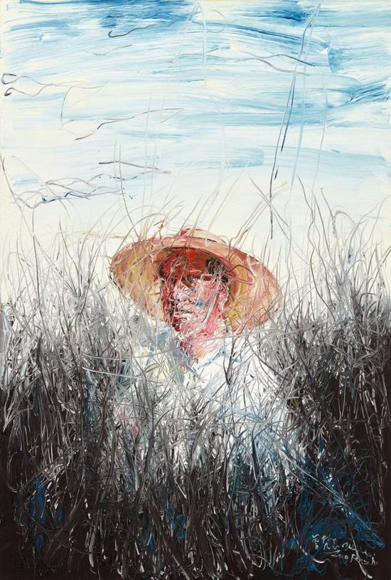 曾梵志 《戴草帽的人》,2004,成交价 :4,880,000 港元