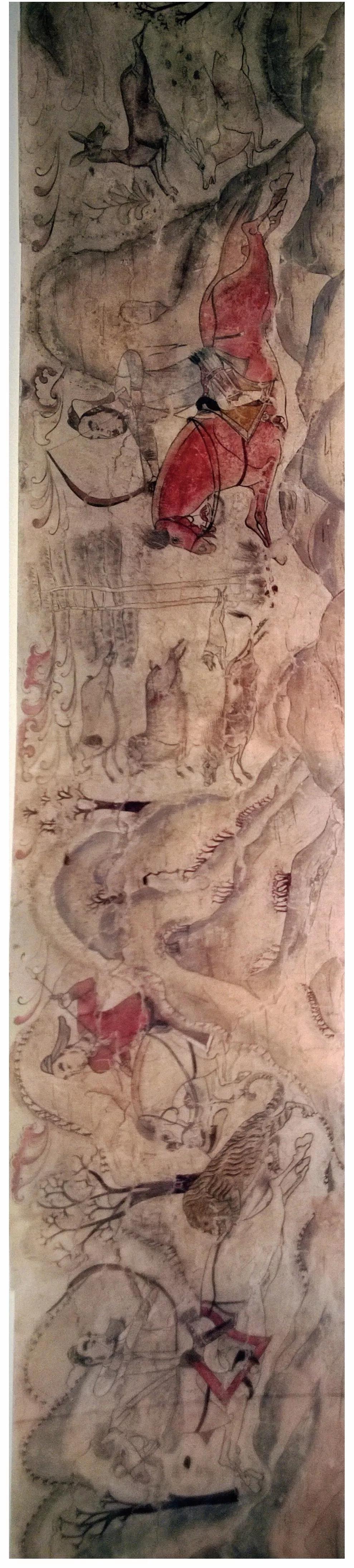 """▲墓道西壁第二层壁画""""狩猎图"""""""