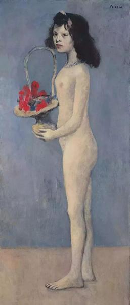 2018年,毕加索1905年创作的《拿着花篮的女孩》