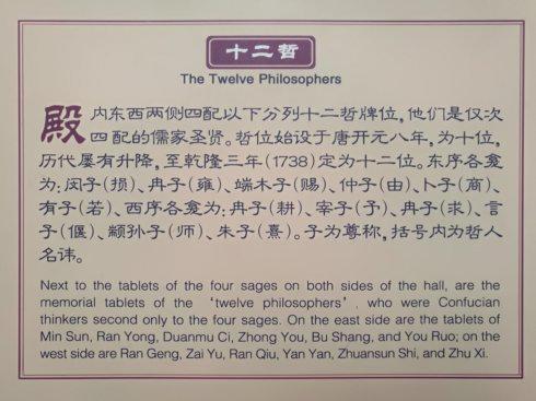 """图(六)为:十二哲,即由唐代""""十哲""""到清乾隆为""""十二哲""""介绍。"""