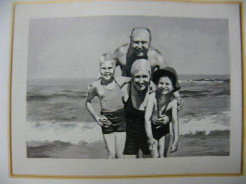 """格哈德・里希特""""照片绘画""""《海边家庭》"""