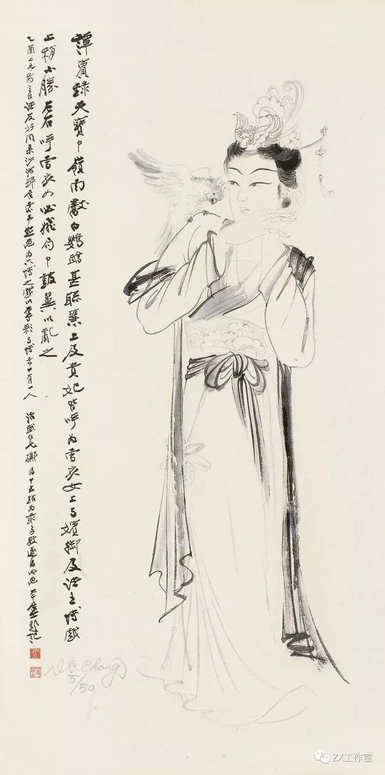 张大千,贵妃戏鹦鹉,丝网版,69.5cm×34.5cm