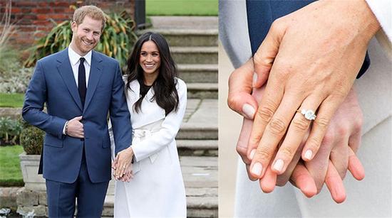 梅根王妃的婚戒主钻来自非洲的博茨瓦纳,这里是两人的定情之地;两侧的钻石则来自戴妃生前珍爱的胸针