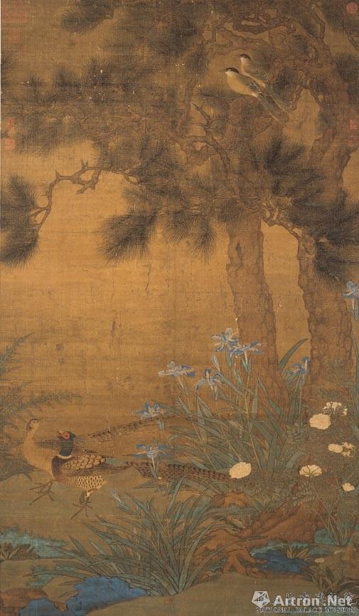 宋 宋人 双松花鸟 轴 清宫旧藏 现藏于台北故宫