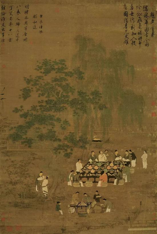 北宋赵佶文会图绢本184.4X123.9 台北