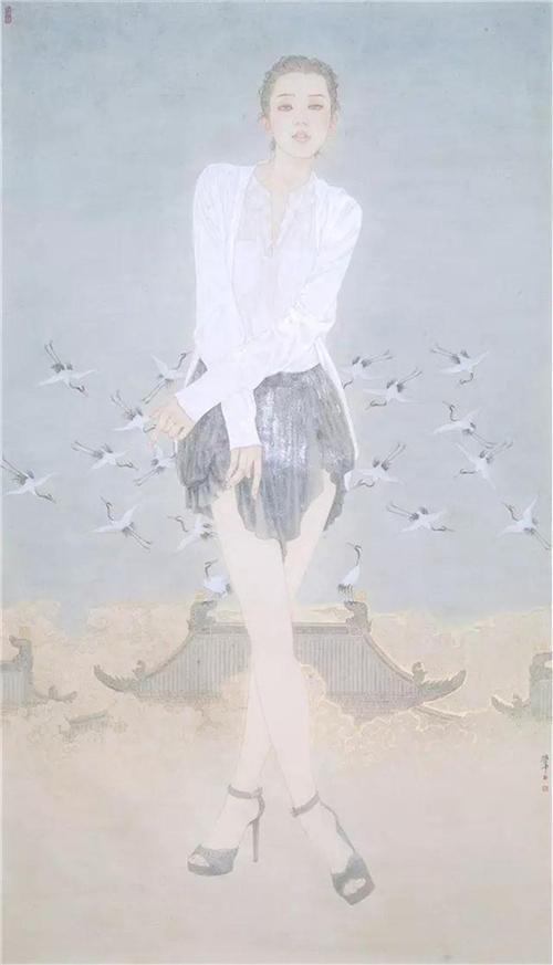 《瑞鹤图》245×140cm 2009年作