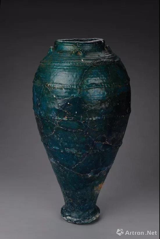 唐 波斯孔雀绿釉陶瓶