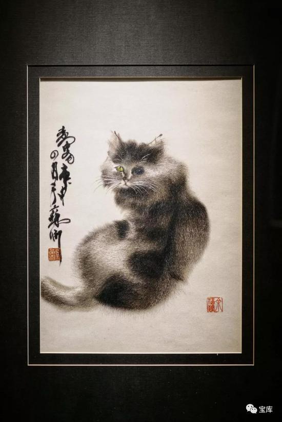 苏绣《泼墨写意猫》