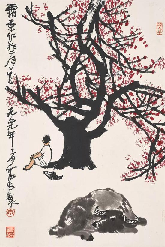拍品编号1377李可染《霜叶红于二月花》设色纸本 镜框