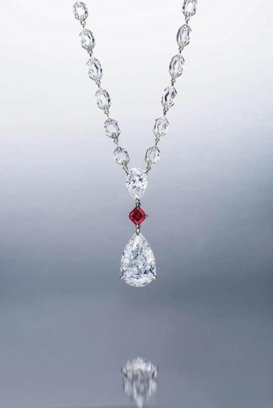 1.03克拉彩紫紅色及10.02克拉D色TypeIIA钻石项链