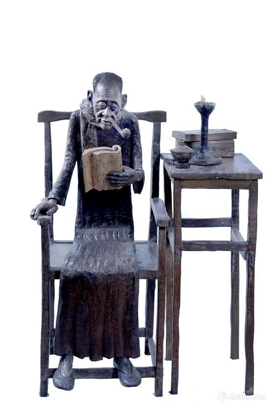 《斜阳》乌木/76×60×120cm 2013年 中国美术馆收藏