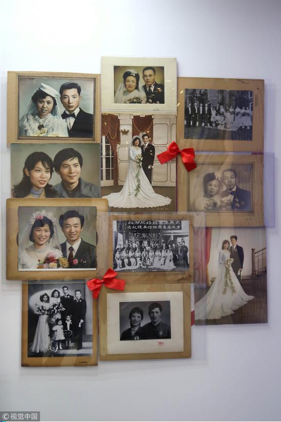 图:民国时期和新中国时期的结婚照
