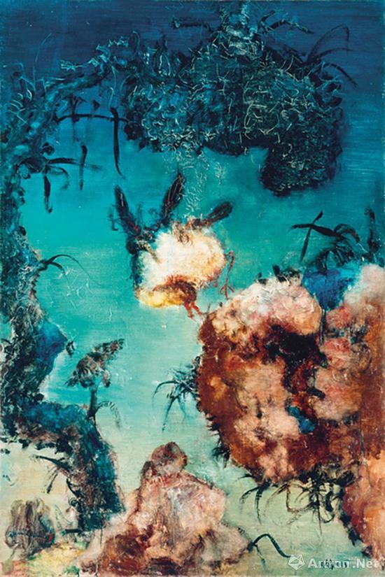 周春芽《中国风景》布面油画 194×130.5cm 1993年