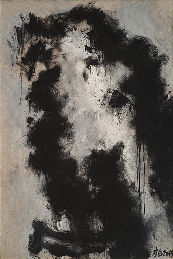 张方白作品 a《墨鹰-1》 150cmx100cm oil painting 2014年