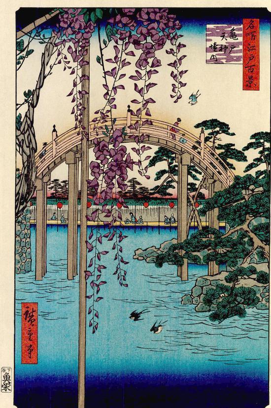 歌川?重,《名所江户百景 龟户天神境内》,36.0×24.5cm,约1856更多展品: