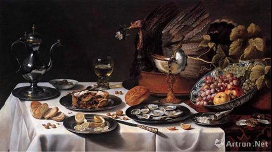 ▲彼得·克莱兹《带火鸡派的静物》1627年 板上油画 75x132cm
