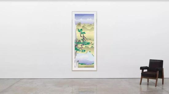 Roy Lichtenstein,Landscape with Poet, 1996, lithograph and screen print on lanaquarelle watercolor paper, 90 3/8 × 36 1/8 inches (229.6 × 91.8 cm), edition 7/60 ? Estate of Roy Lichtenstein