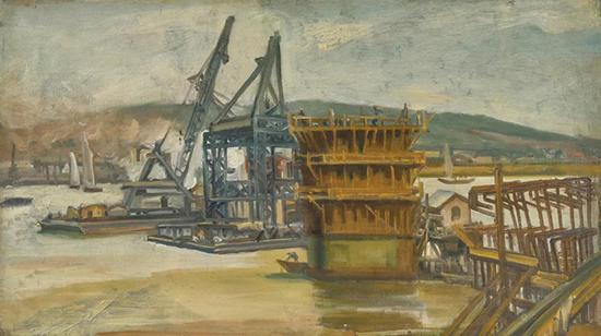 倪贻德《建设中的长江大桥》
