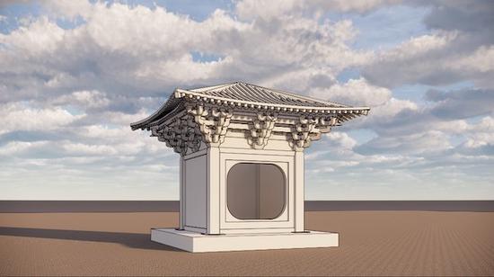 石殿复原图(建筑制图:徐东)