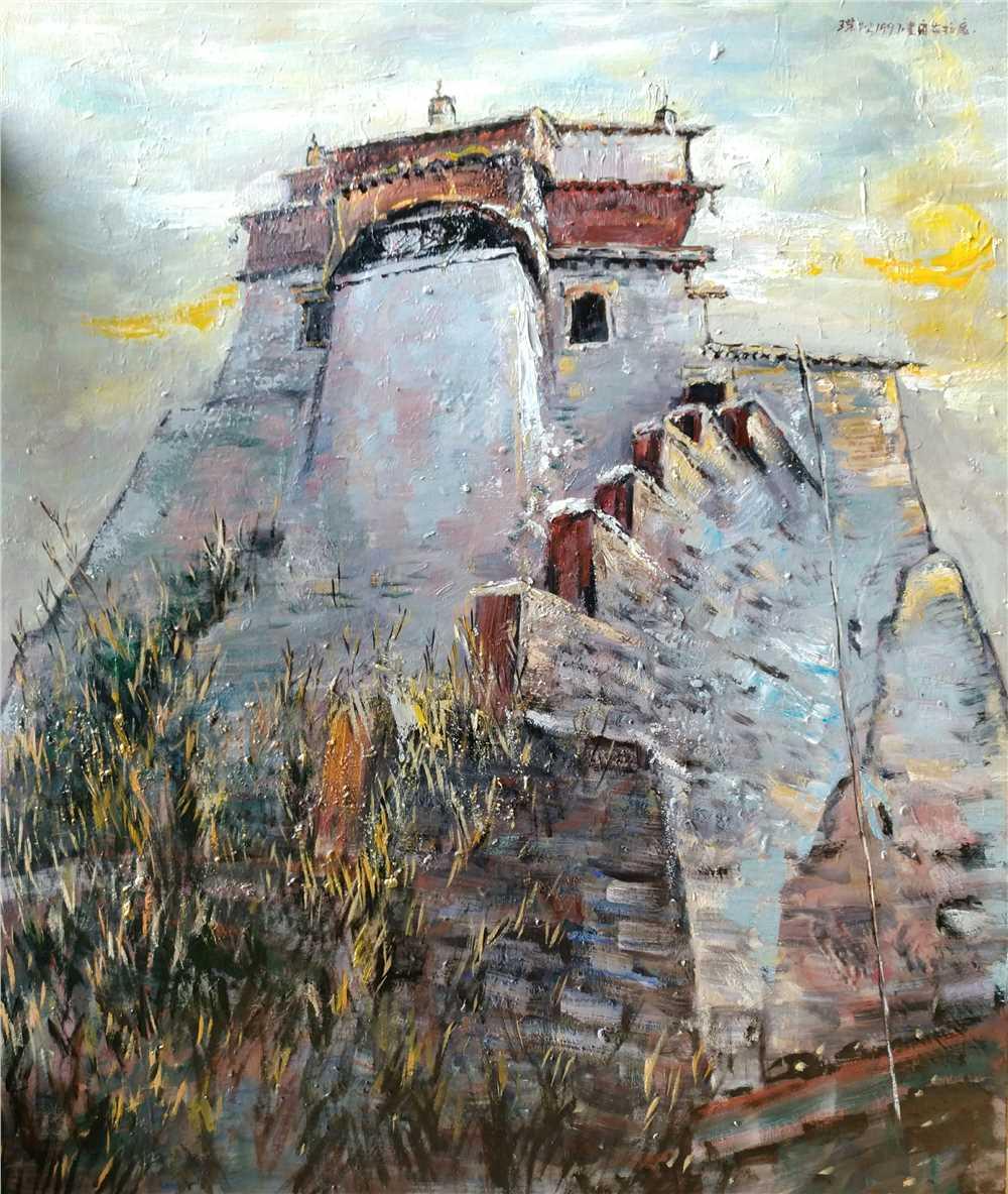 王荣松油画作品《雍布拉康》亚麻布油彩丙烯130x110cm