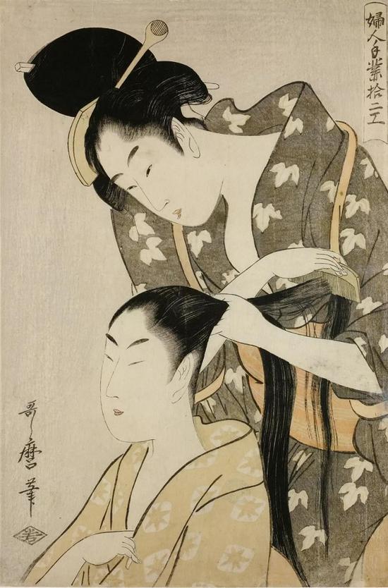 《婦人手業拾二工》,喜多川歌麿(1753?1806),彩色木刻版画