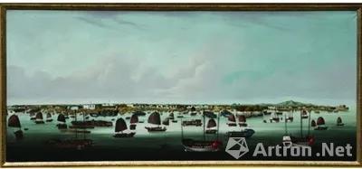 ▲清 外销画《广州港全景图》