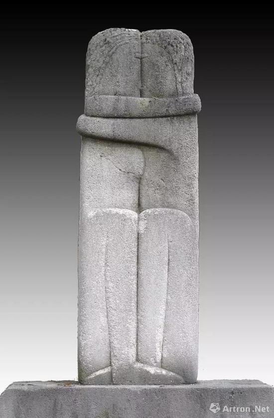 康斯坦丁·布朗库西,吻,1909,现存于巴黎蒙帕纳斯公墓